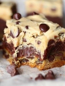 I call these Cavity Bars!! They are a layer of chocolate chip cookie, topped with a layer of brownie and finished with egg free cookie dough! 3 layers of bliss!