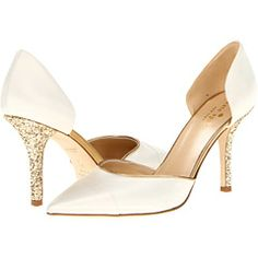 Kate Spade New York Piper Ivory Satin/Old Gold Metallic Nappa