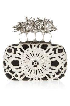 ALEXANDER MCQUEEN  Dandelion Knuckle Swarovski crystal, calf hair and leather box