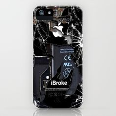 Broken, rupture, damaged, cracked black apple iPhone 4 5 5s 5c, ipad, pillow case and tshirt iPhone & iPod Case