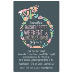 Diamond Ring Bachelorette Invitations / Bachelorette Weekend Lingerie Shower Invitations with Matching Return Labels and Stickers