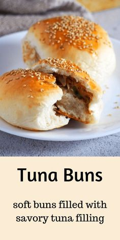 These Tuna Buns are perfect for quick lunches, snacks or picnic food. You will love the savory tuna filling nestled inside soft bread with sesame seeds as a tasty garnish. The wonder of bread is. Lunch Recipes, Great Recipes, Favorite Recipes, Healthy Recipes, Sandwich Recipes, Amazing Recipes, Fish Recipes, Seafood Recipes, Asian Recipes