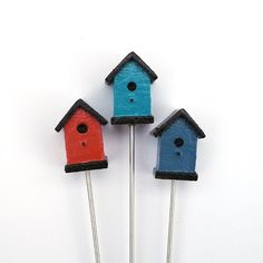 Miniature Garden Birdhouses, Set of Three, Made in the USA, Blue, Turquoise, Red. via Etsy.
