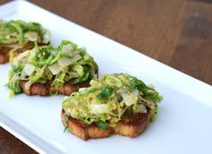 Authentic Suburban Gourmet: Shaved Brussels Sprouts with Parmesan and Truffle Oil Crostini