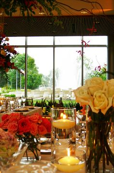 Love the indoor/outdoor feel of this space at the IMA - casually elegant flowers inside, Sutphin Fountain outside. ~Indy Wedding Venues
