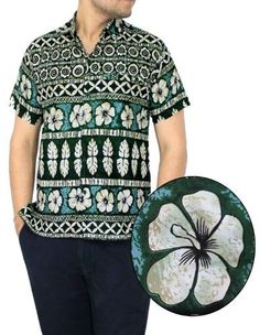 49a0217f La Leela Mens Woven Party Hawaiian Beach Casual Front Pocket Hibiscus Short  Sleeve Camp Button Down Shirts Collared Print Green Thanksgiving Christmas  Gift ...