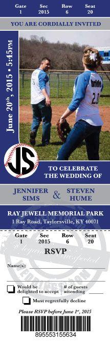Baseball Wedding Invitation - Custom Event Ticket Ideas #baseballwedding #stwdotcom