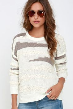 Obey Findon Cream and Taupe Sweater