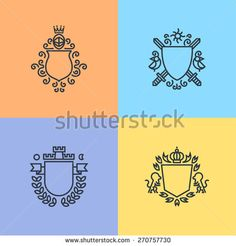 Herald logo template on shields set, armors, crowns, lions and other