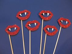 Halloween Photo Booth Props - GLITTER Vampire Lips on sticks