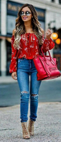 """Red Flower Printed Off The Shoulder Blouse & Ripped Skinny Jean. - outfits , Red Flower Printed Off The Shoulder Blouse & Ripped Skinny Jeans & Red Leather Tote Bag Source by """" , """" Spring Fashion Casual, Look Fashion, Spring Outfits, Teen Fashion, Winter Fashion, Womens Fashion, Fashion Clothes, Fashion Design, Feminine Fashion"""