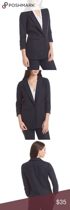 Michael Kors Shirred Linen Blazer Very lightweight and perfect to transition into fall with! Beautiful one button Navy linen blazer, looks great dressed up or with jeans. No stains, rips or tears. Still selling on clearance for $75! This is a steal. Michael Kors Jackets & Coats Blazers