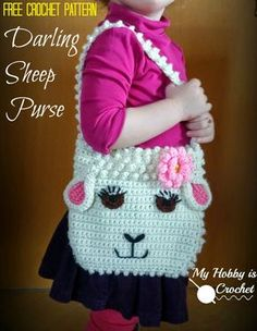 Free Pattern: Darling Sheep Crochet Purse for Little Girls | My Hobby is Crochet