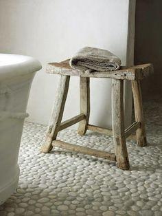 Polished White pebble tile flooring for shower floor Decor, Furniture, Interior, Stone Flooring, Pebble Tile, Home Decor, Flooring, Wooden Stools, Pebble Floor