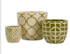 Imax    Set of 3 Ceramic Lattice Containers