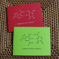 Biology DNA nucleotide cards! I can have the kids make these to their special loved one, and they learn the base pairing rules. I am a nerd indeed LOL!