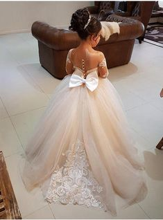 0baafa75a622 Scoop Neck Ball Gown Flower Girl Dresses Bow(s) Long Sleeves Sweep Train  (010146757)