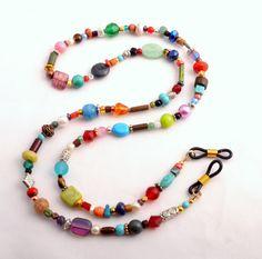 Eyeglasses Chain Beaded Eye Glass Holder Multi by SoCalStudio Jewelry Knots, Bead Jewellery, Beaded Jewelry, Eyeglass Holder, Bohemian Bracelets, Lanyards, Diy Necklace, Eye Glasses, Beaded Earrings