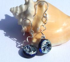 Drop Earrings - Fused Glass Jewelry - Dichroic Jewelry - Blue and Silver Glass Earrings on 925 Sterling Silver Earwires.