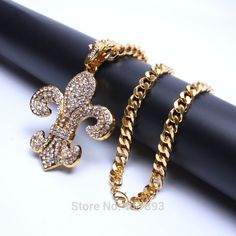 New inlaid rhinestone bling Anchor pendant Plating Gold Big rough chain necklace for men women Punk/ rock/Hip Hop Jewelry