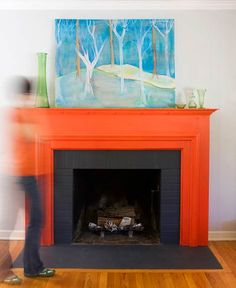 Great Snap Shots orange Brick Fireplace Style thinking of painting the mantle i… – Modern brick fireplace Painted Fireplace Mantels, Painted Mantle, Paint Fireplace, Fireplace Surrounds, Fireplace Ideas, Mantles, Brick Fireplaces, Mantle Ideas, Living Room Colors