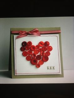 Cute DIY Valentine card. I like the red buttons!
