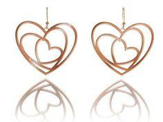ORECCHINI CON CUORI DORATI ROSA  Orecchini in argento 925 bagnati in oro rosa con pendenti a forma di cuore. pendente mm 5,50 x 4,50.  Prices: $102.04