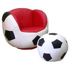 Found it at Wayfair - Soccer Chair & Ottoman Set in Black & White