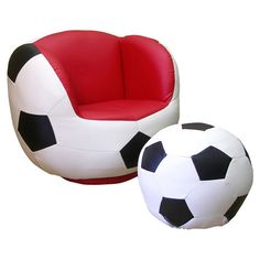 Found it at Wayfair - Soccer Chair & Ottoman Set in Black & White