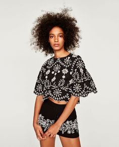ZARA - WOMAN - TOP WITH FLORAL EMBROIDERY