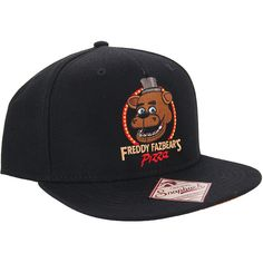 Hot Topic Five Nights At Freddy's Freddy Fazbear's Pizza Snapback Hat ($15) ❤ liked on Polyvore featuring accessories, hats, fnaf, black, graphic hats, graphic snapbacks, snap back hats, stitch hat and snapback hats