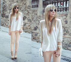 Sheer White Linen Tunic + Pale Pink Skinny Jeans + Tan Cork Platforms