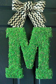 Spring Wreath Moss Covered Monogram Door Hanger With by BoaAndBoo Chevron Burlap, Burlap Bows, Burlap Wreath, Moss Letters, Monogram Letters, Letter Door Hangers, Cottage Chic, Porch Decorating, Door Wreaths