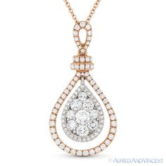 The featured pendant is cast in 18k rose gold and showcases a tear-drop design adorned with round brilliant cut diamond clusters at the dangling white gold centerpiece and paved with round cut diamond accents set all throughout the pendant.