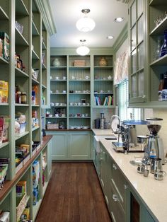 10 Kitchen Pantry Design Ideas. A little big but I do love it. Especially the counter space.