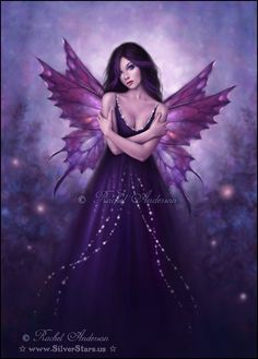 Mirabella-Fairy & Fantasy Art by Rachel Anderson Fairy Dust, Fairy Land, Fairy Tales, Magical Creatures, Fantasy Creatures, Elfen Fantasy, Butterfly Fairy, Purple Butterfly, Purple Lily