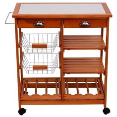 Kitchen-Trolley-Cart-Worktop-Dining-Storage-Drawers-With-Bottle-Holder-Rack-Wood