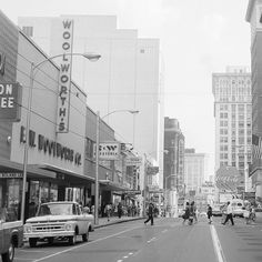Photo of Peachtree Street in downtown Atlanta Georgia, showing the Woolworth Department Store; the S & W Restaurant; the Loews Grand Theater. This would be circa notice the trolley with aerial electrical connectors. Georgia Usa, Georgia On My Mind, Atlanta Georgia, Song Of The South, Atlanta Restaurants, Flint Michigan, The Good Old Days, Street View, Main Street