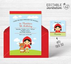 Red Riding Hood INSTANT DOWNLOAD Editable Invitation / Red