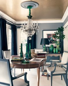 Love this dining room ceiling! 11 Rooms That Prove That The Best Ceilings Are Painted Ceilings (PHOTOS)