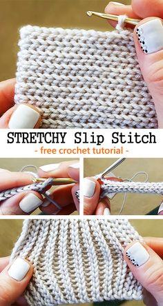 Crochet Stretchy Slip Stitch - knitting is as easy as 3 knitting . - Crochet Stretchy Slip Stitch – knitting is as easy as 3 Knitting boils down to three essent - Blog Crochet, Crochet Basics, Crochet Crafts, Crochet Yarn, Free Crochet, Crochet Ideas, Crocheted Scarf, Crochet Tutorials, Crochet Designs