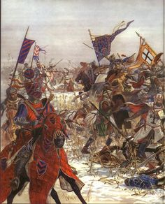 The Livonian brach of the Teutonic Knights battle the Rus warriors of Alexander Nevsky.
