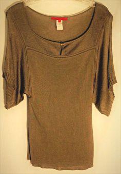 LES COPAINS Olive Drap Knit Top - Split Top Wide Sleeves w/Button - Italy - 42 #LesCopains #KnitTop #les #copains #top #sweater #olive #green #drab #42 #italy #split