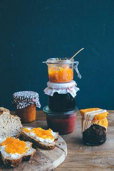 Cheese and jam - a perfect match. Sunset Jam, Purple Haze, Onion Confit, and Rhubi.