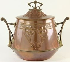 Art Nouveau Copper Pot circa 1900, probably Belgian, brass bracket handles, including cover. 15 x 12 in. One minor ding. Group - Category: Antiques & Collectibles - Mud Room