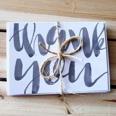 Brush Lettered Thank You Cards // Cute Greeting by KTsCanvases