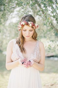 This darling shoot from French Wedding StyleandCat Hepplehas me wrappedaround it's little finger. From the festive fig, berry and olive branch detailing to the wildly enchanting stationery byNice Plumeto the to-die-for dessert bar fromChef A Domicile—that dessert bar will make