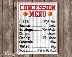 Sports Concession Menu Basketball Party Decor by MaxandMaeInvites Sports Theme Birthday, 1st Birthday Parties, Sports Theme Baby Shower, Basketball Baby Shower, 7th Birthday, Baseball Birthday Party, Xavier Basketball, Basketball Birthday Parties, Basketball Scoreboard