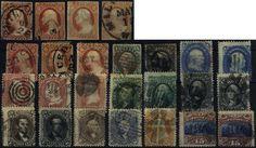 USA, ca. 1851/1870, meist gestempelte Partie diverser Freimarken ex Nr. 4/38, vieles mehrfach, dabei Farbnuancen, Waffeleinpressung etc., dazu noch diverse Eil-u. Luftpostmarken, ingesamt ca. 230 Stück auf 12 Steckkarten, altersbedingte gute Erhaltung, KW n. A. 17.500,-  Dealer Hadersbeck Auction  Auction Minimum Bid: 900.00EUR