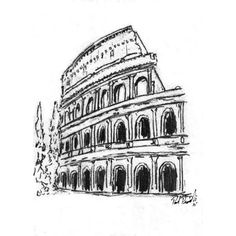Original Colosseum, Rome, Italy Abstract Pencil Sketch (5x7) Drawing... ($30) ❤ liked on Polyvore featuring home, home decor, wall art, backgrounds, drawings, paper wall art and colosseum